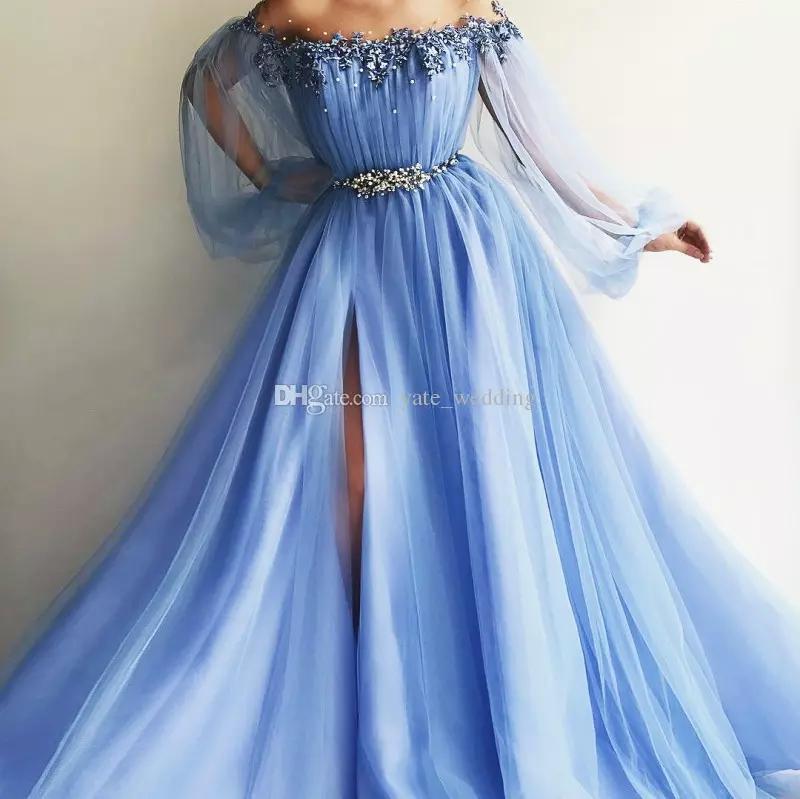 Off The Shoulder Evening Dresses Puff Sleeves Appliques Beaded Tulle Satin Split Side Floor Length Light Sky Blue Lavender Prom Dresses CG01