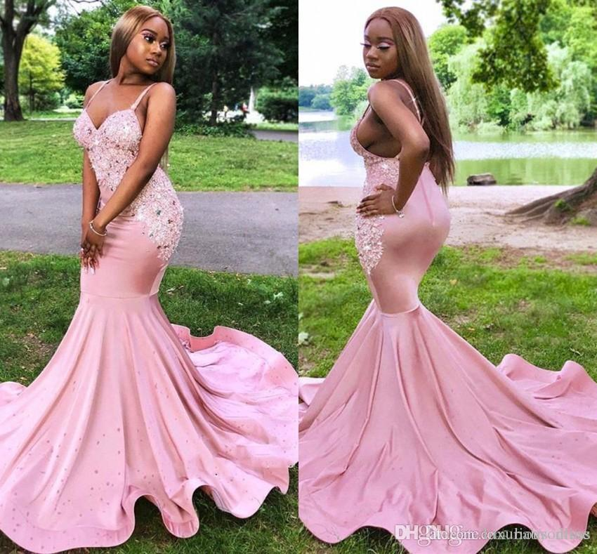 2019 New Sexy Black Girls Pink Prom Dresses Mermaid Spaghetti Straps Backless Long For Party Evening Gowns With Beads Appliques