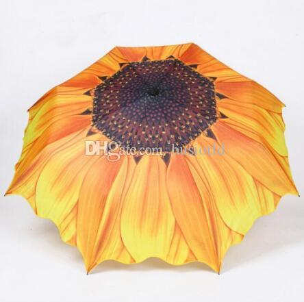 wholesale 10pcs Fashion Sunflower Pattern Three Folding Umbrella Women Men Sun/Rain Large Beach Umbrellas Parasol