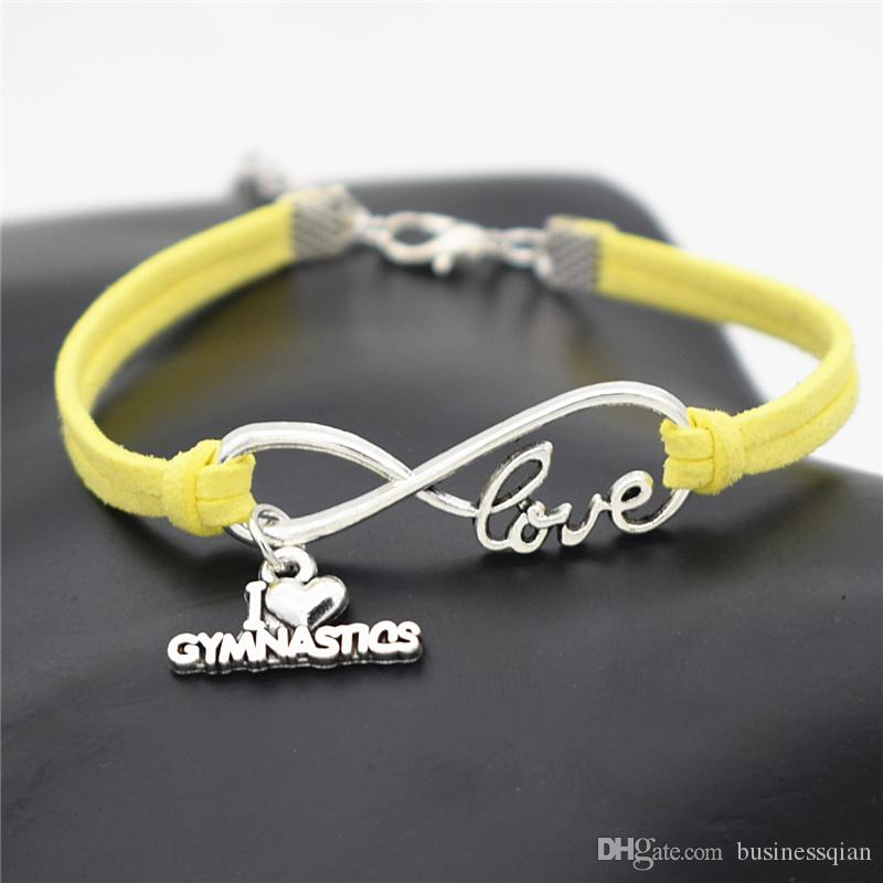 Hot Braided Silver color Infinity Love I Heart Gymnastics Pendant Bracelets & Bangles Yellow Leather Rope Luxury Jewelry For Men Women Gifts