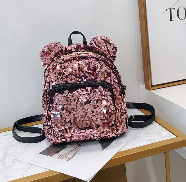 Progettista donne Borsa a tracolla Cute Girl Cartoon Paillettes orso zaino genitore-figlio mouse Schoolbag riceve doni Mini Paillettes Borse / 5