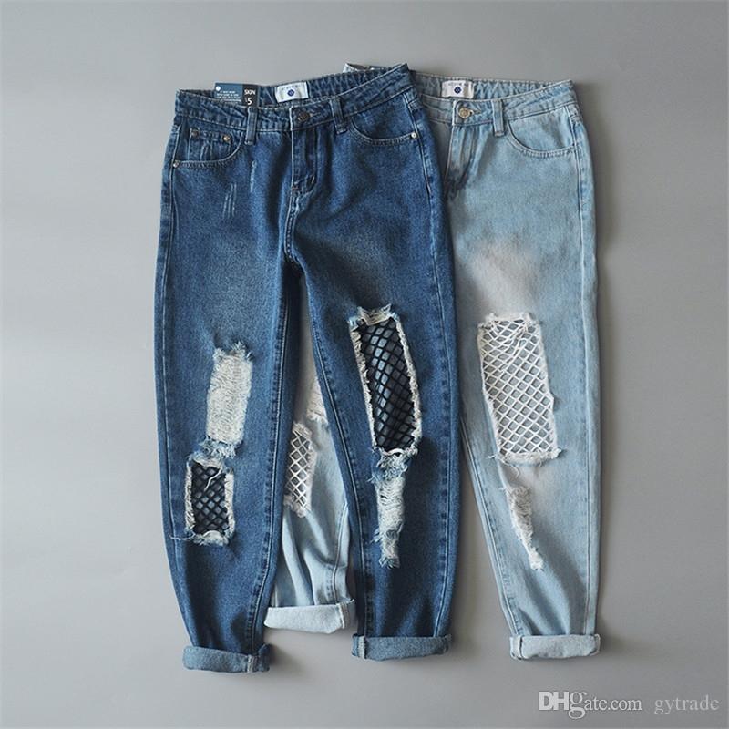 Мода повседневная выдалбливают светло-голубой джинсовые джинсы тонкий лето сетки шить отверстие рваные джинсы женский прохладный парень брюки