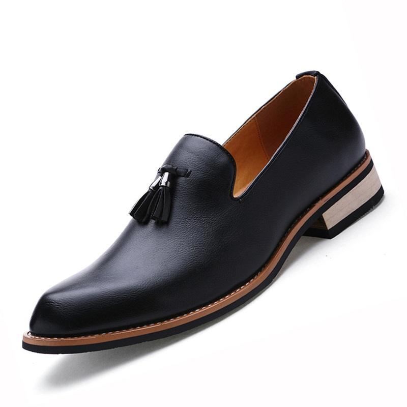 Zapatos de cuero de los holgazanes de los zapatos de cuero genuino clásico borla Brogue para hombre Bullock formal del vestido casual de la boda