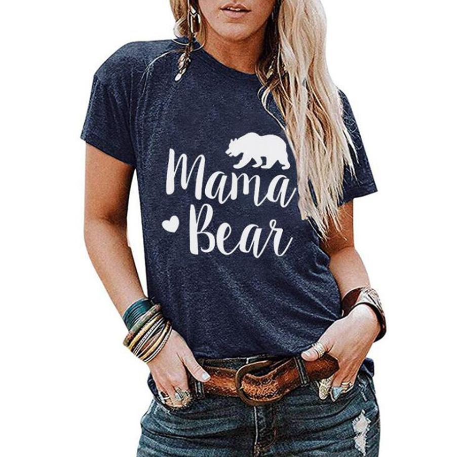 MAMA BEAR المرأة القمصان 7 ألوان رسالة مطبوعة قصيرة الأكمام التي شيرت الصيف في الهواء الطلق التي شيرت تي شيرت بنات تيز OOA7628-5