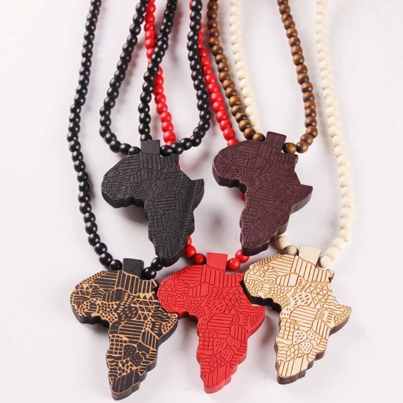Hip Hop Mapa de Madera de cuentas de madera de África collares pendientes de cuentas de cadenas para las mujeres de los hombres de joyería regalo de Hiphop
