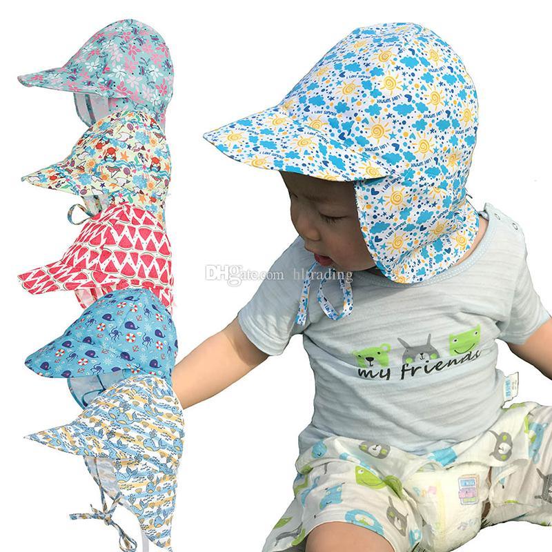 New design Baby Boys Girls Caps Sun Protection Swim Hat floral Children Sunscreen Hat Outdoors Cap Anti-UV Headwear Baby solid Sunhats C6652