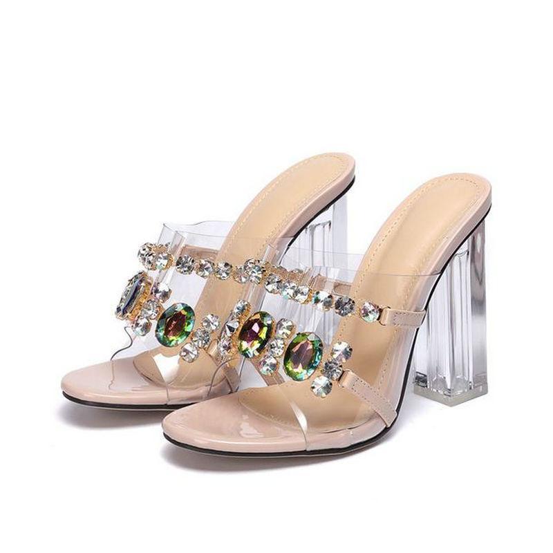 Cristal atractivo del estilo del verano del resorte del talón de tacón alto-deslizadores del alto talón de las mujeres sandalias del Rhinestone mujeres de los deslizadores zapatos grandes Tam