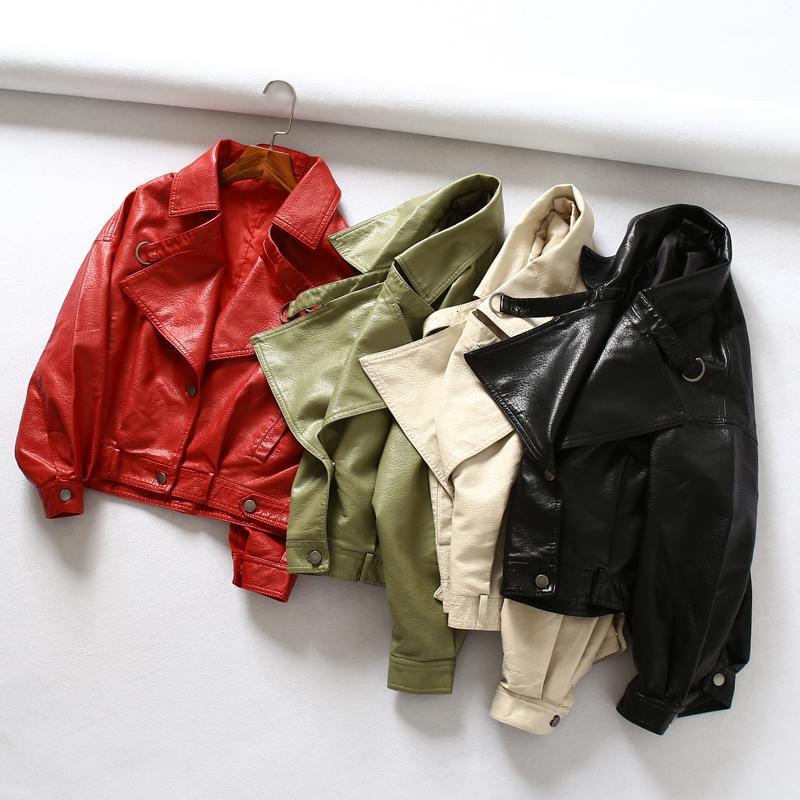 Fitaylor Women Faux Leather Jacket Batwing Sleeve Vintage Biker Coat Short Zipper Motor PU Red Jacket Spring Street Leather Coat T190923
