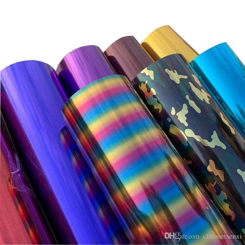 Freies Verschiffen 1 Blatt 25cmx30cm Metallic Heat Transfer Vinyl Metall Licht Pailletten PVC Presse-T-Shirt Eisen auf HTV Druck