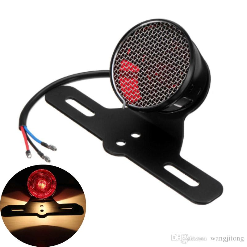 Universal Motorcycle LED Rear Brake Light Tail Stop Signal License Plate Lamps For Cafe Racer Bobber