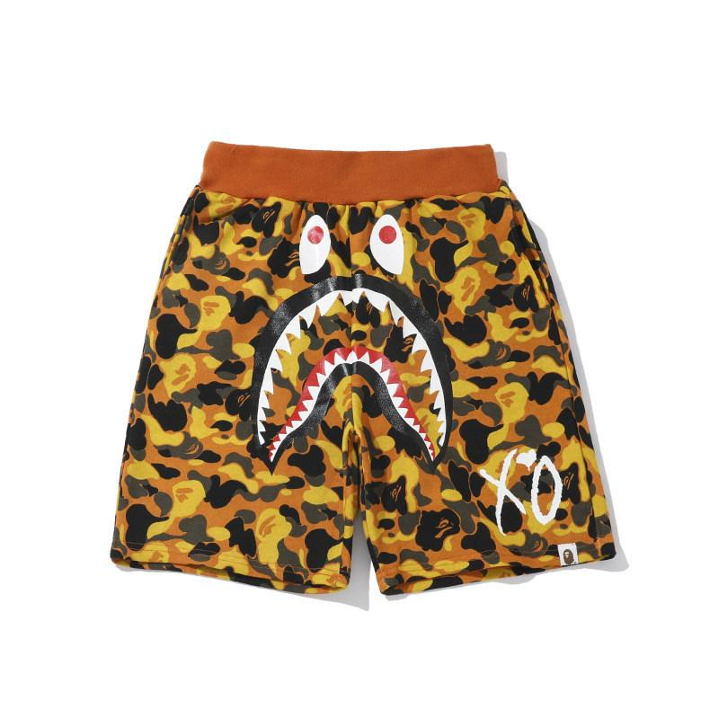 2020 dos homens do desenhista Rua Tide marca Orange Camo Praia Shorts Pants Tide Marca solto Hip Hop Calças pretas Shorts Europa e América