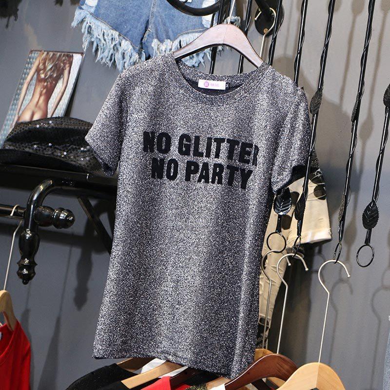 Plata Inglés acuden imprimir camisetas del todo-fósforo 2020 de verano brillante seda floja femenina corto camiseta de manga con capucha c1039 T200512