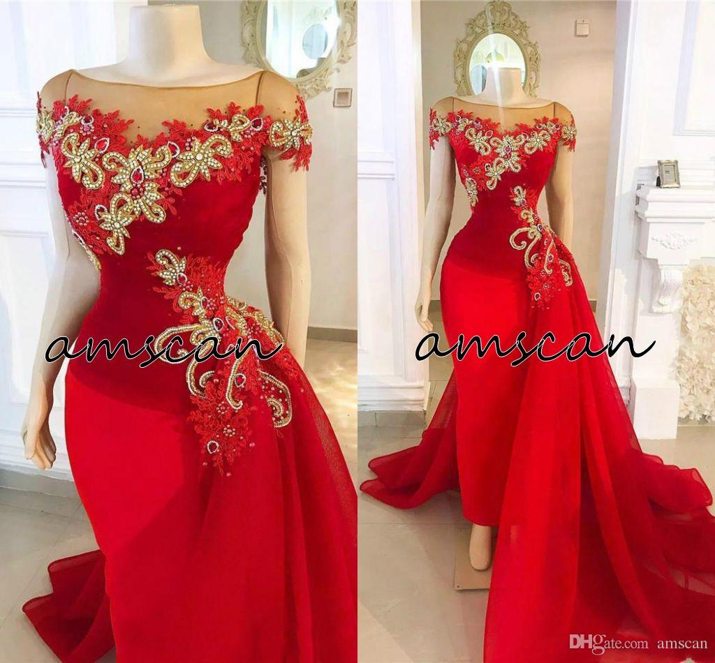 2020 Sexy Red Appliques Tulle Mermaid Evening Dresses With Detachable Train Gold Beaded Crystals Formal Pageant Party Gowns Cheap Prom Dress