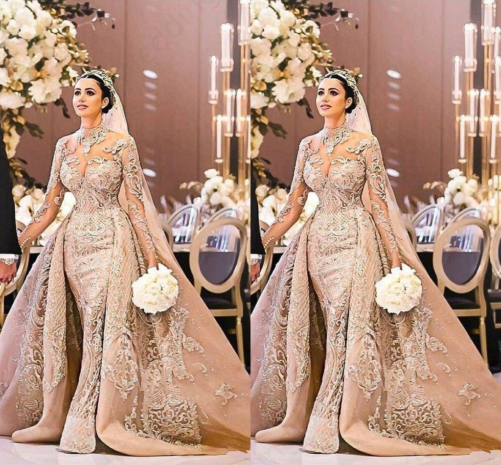 Arabic Dubai Long Sleeve Wedding Dress Gorgeous High Neck 2019 Mermaid Lace Appliques Detachable Train Bridal Gown vestido de noiva