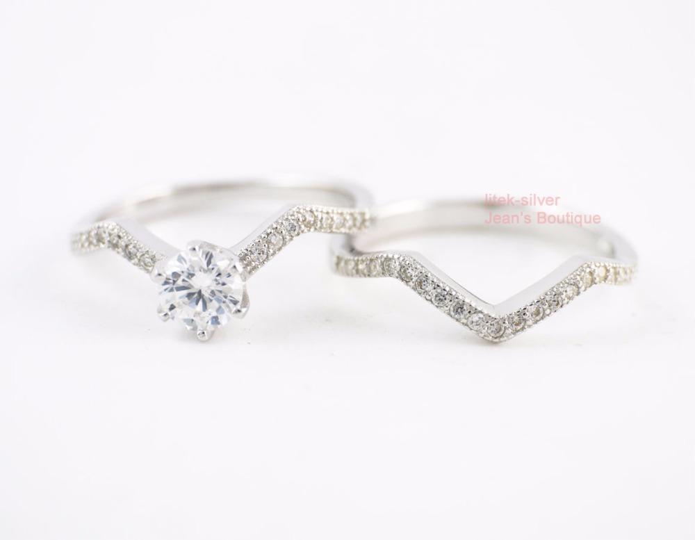 FASHION- Anneaux Set - 925 bijoux en argent massif Mode Zircon mariage Bague de fiançailles A3719