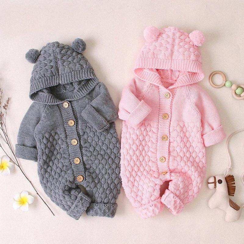 Romper bebé del invierno del otoño hacen punto de recién nacidos Niños bebés ropa unisex con capucha ropa para las muchachas del mono 0 3 6 9 Mes 4s2z #