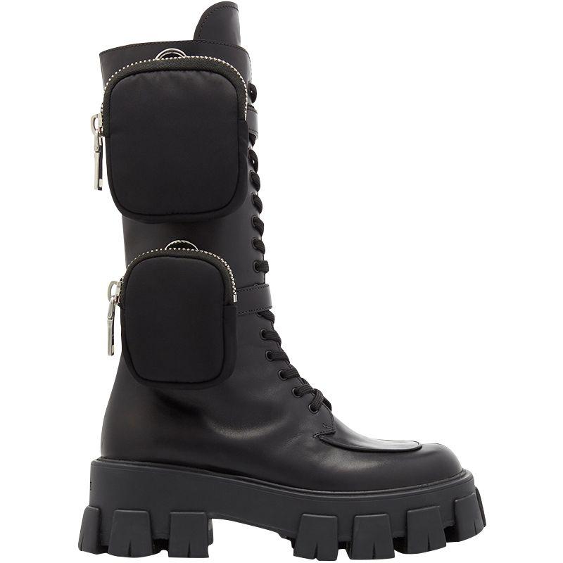 BONJEAN 2019 kadın Son Style Yeni Geliş Cep Motosiklet Boots Yakışıklı Lace Up Kalın tabana vurma Siyah Ayakkabı Yarım Çizme