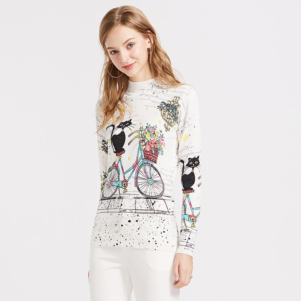 Sweater For Women Elegant Harajuku Cartoon Cat Bicycle Flower Turtlneck Sweaters And Pullovers Tricot Pull Femme Jersey