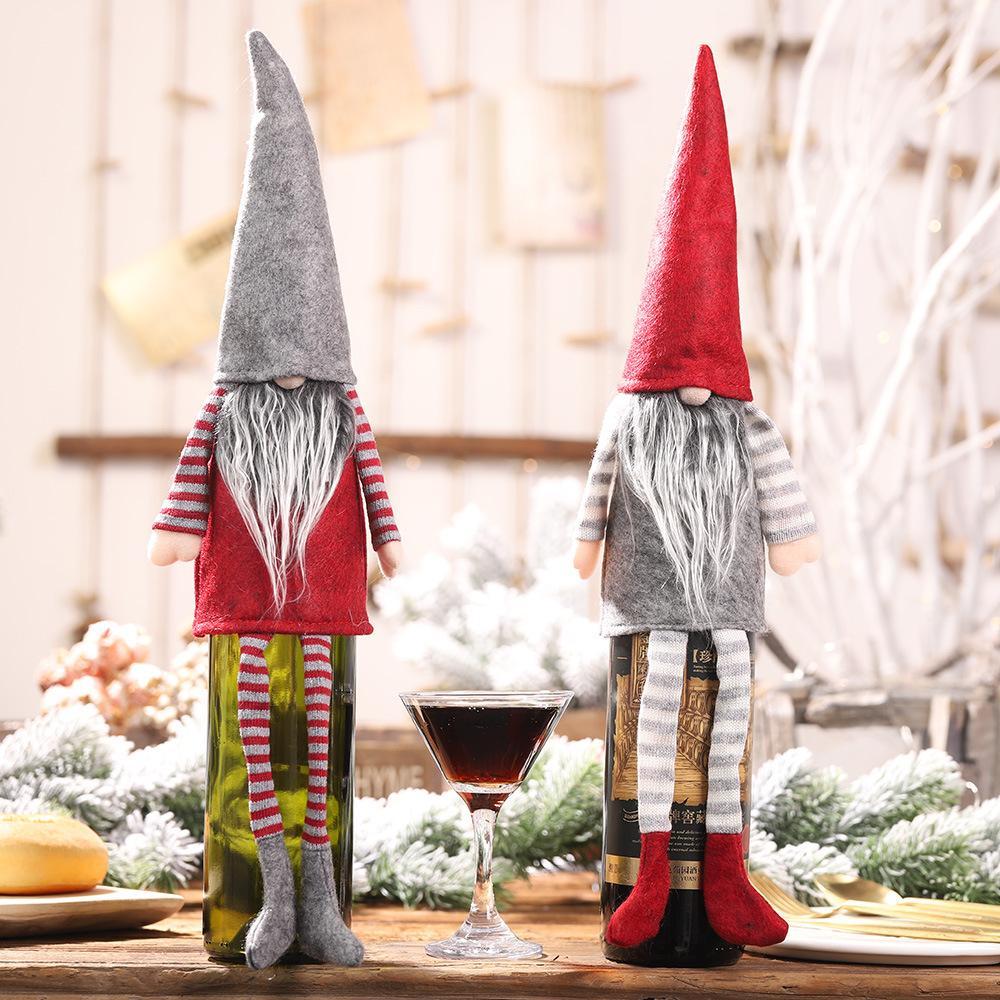 긴 다리 익명의 인형 크리스마스 장식 홈 레드 와인 병 커버 병 래퍼 토퍼 모자 산타 옷 홈 장식