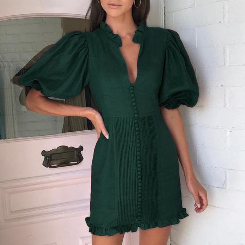 Melegant parti vintage pileli kış kadın elbise koyu yeşil bayanlar elbiseler zarif puf ruffles elbise vestidos