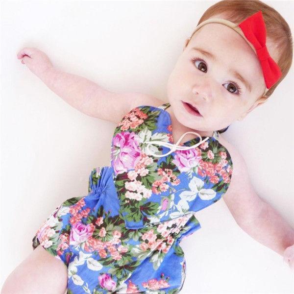 Emmababy Hot New Tout-petit enfant nouveau-né Bébés filles couleur Fleurs One-Pièces Bodysuit Jumpsuit Outfit Vêtements Sunsuit
