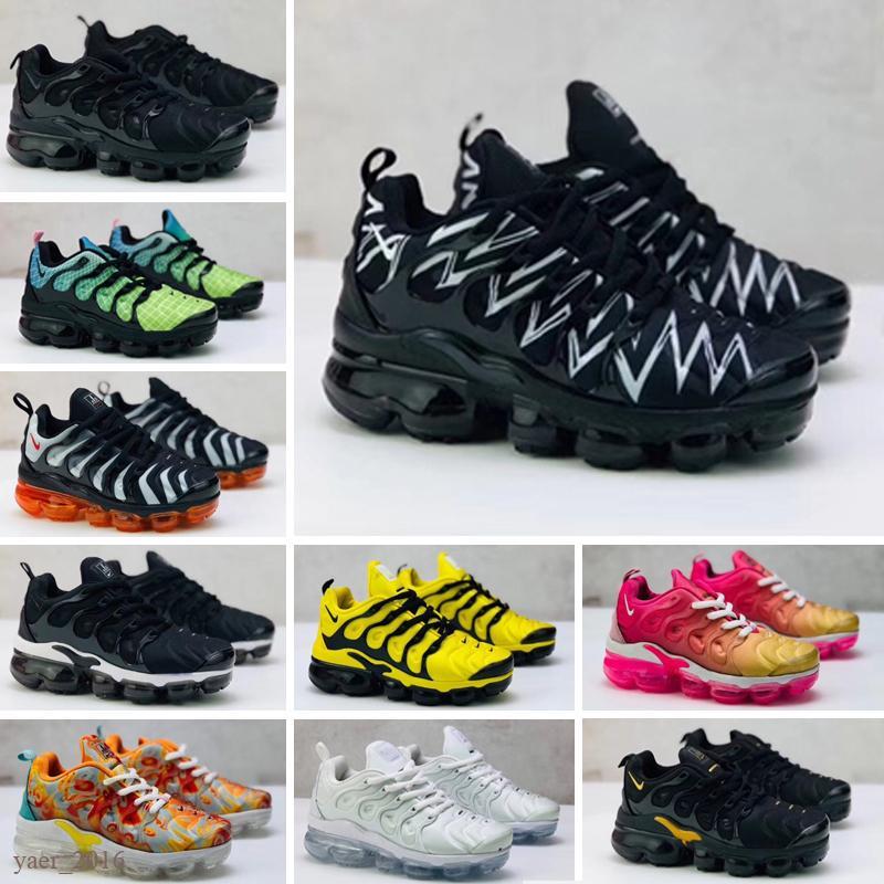 Nike Air Vapormax TN Plus zapatos corrientes Triple Black recién nacido del bebé niños pequeños muchachos de los niños en edad preescolar Formadores las zapatillas de deporte