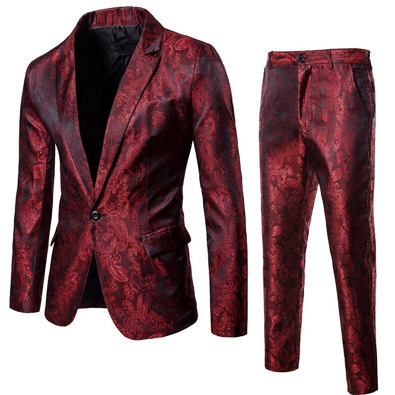 Wine Red Nightclub Paisley Suit (Jacket+Pants) Men 2018 Fashion Single Breasted Mens Suits Stage Party Wedding Tuxedo Blazer 3XL C18122501