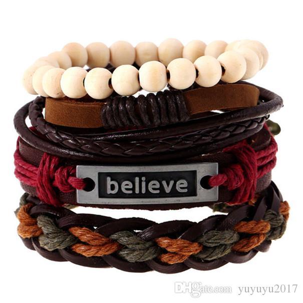 20-styles 4pcsset Boho Gypsy Hippie Punk Dark Brown Leather I Love Jesus Word Tag Charm Beige Wooden Bead Cord Wrap Bracelets Set pksp4-5