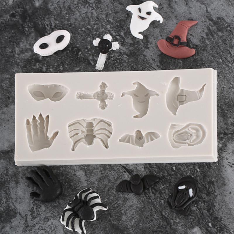 Haute Qualité Araignée Crâne Halloween Sorcière Chapeau Fantôme Chocolat Fondant En Silicone Moule Pour La Décoration De Gâteau Outils