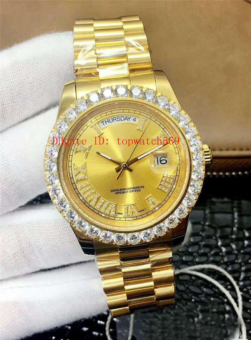 Top día de la fecha reloj de diamantes para hombre reloj suizo 2836 Mecánica 28800 VPH cristal de zafiro automático de oro de 18 quilates de acero inoxidable 316L bisel de diamantes