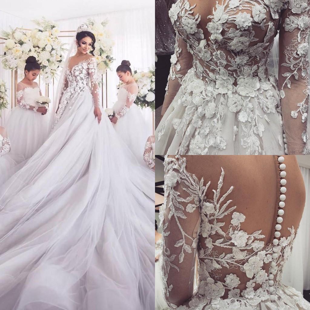 Precioso 3D flowrers una línea de vestidos de novia largo apliques de encaje mangas Plus vestido de novia de tren de Vatican cthedral Tamaño