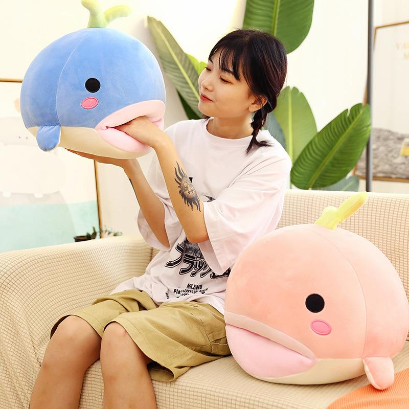 20CM Embroidered Whale Plush Doll Cute Cartoon Super Soft Plush Stuffed Toy Big Mouth Whale Sea Animal Lovely Kids Birthday Gift