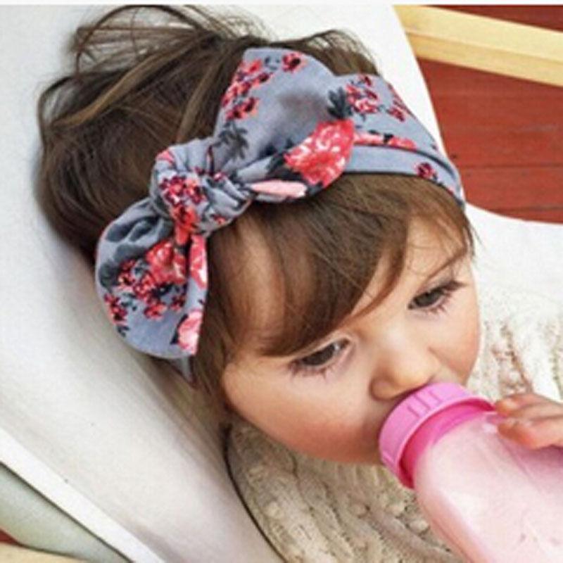 2018 Kid Baby Girl Floral élastique Hairband enfants stretch Turban Fleur Lapin Bandeau Couvre-chef bébé Accessoires cheveux bande