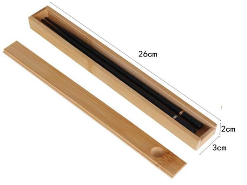 100 unids Portátil Natural Bambú Reutilizable Palillos Reutilizables Caja de almacenamiento Sushi Alimento Stick Chopsticks Caja Caja
