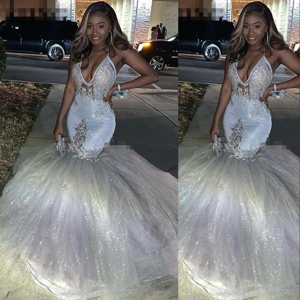 2020 neue reizvolle afrikanische Silber Pailletten Abendkleider Illusion mit V-Ausschnitt SpitzeApplique wulstige Tulle Gewohnheit Backless formale Abendkleider