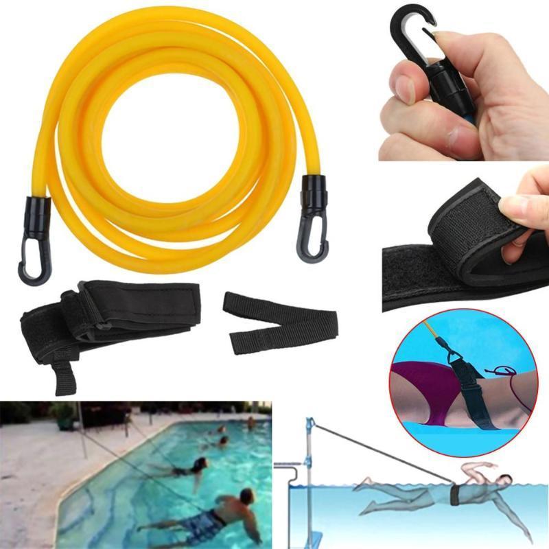 Einstellbare Schwimmtraining Resistance Gürtel Schwimmen Bungee Exerciser für Erwachsene Kinder Leine Netztasche Sicherheit Swimming Pool Tools