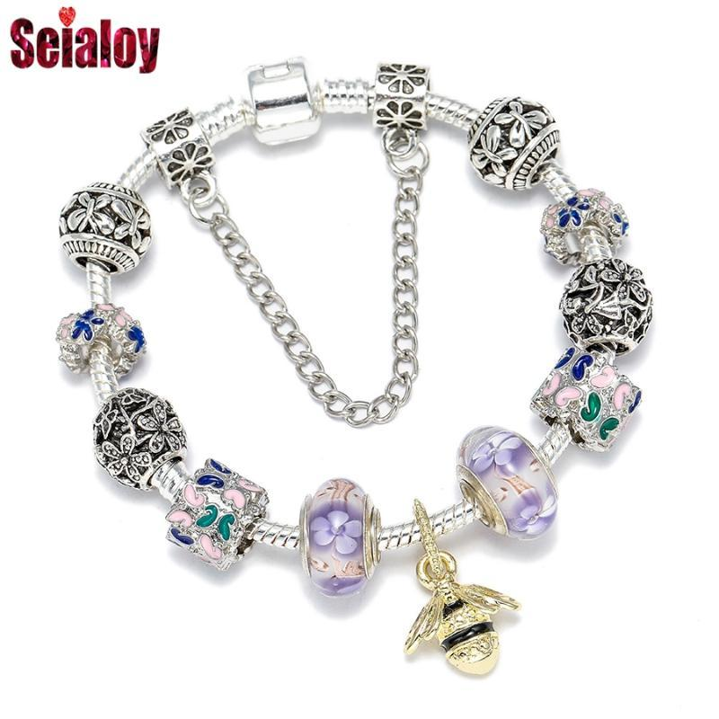 Daisy Jewelry Women Girls Snake Chain Charm Bracelet for Charms Bead