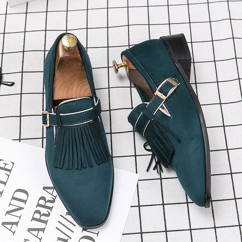 Errfc New Arrival Green Fashion Men Loafer Shoes Trending Buckle Faux Suede Tassel Black Leisure Shoes Man Flats Nubuck 38 48 Blue Shoes Clogs For Women From Lilychoo 47 59 Dhgate Com