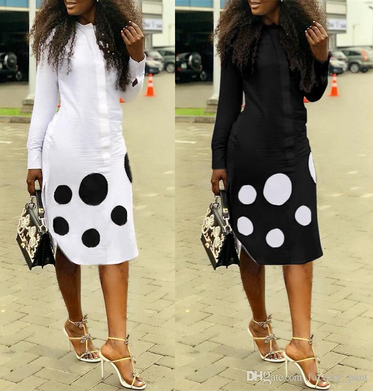Side Split Fashion Straight Shirt Dress Spring Button Up Long Sleeve Knee Length Robes Office Lady 2 Color Dot Blouse Robe Black White