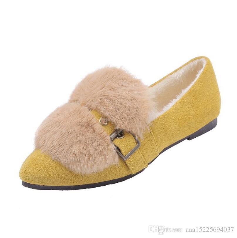 Zapatos de mujer 2019 nuevos zapatos planos puntiagudos zapatos de guisantes de piel zapatos de algodón de invierno para mujer zapatos de mujer más terciopelo Zapatos individuales Mocasines de trabajo de conducción