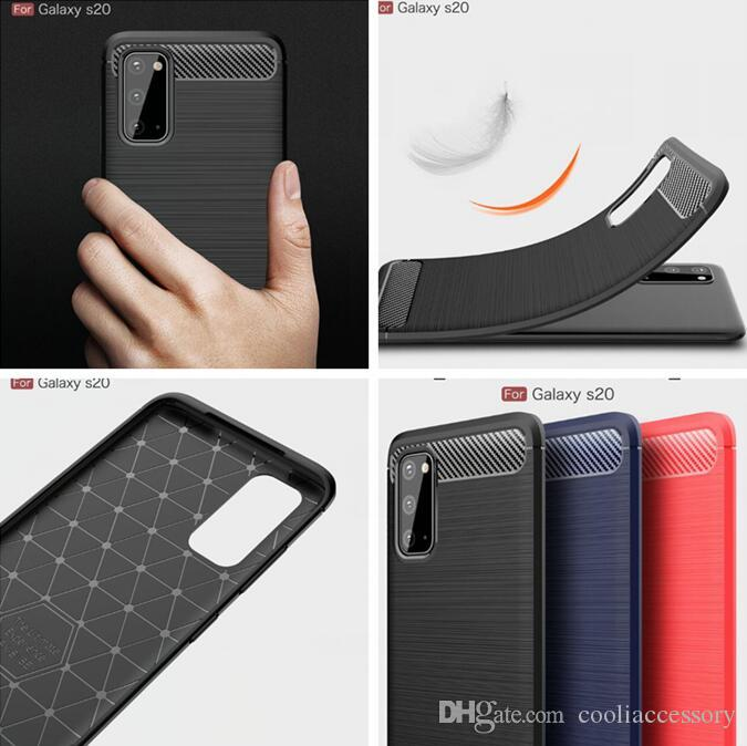 Spazzola morbida TPU per Samsung Galaxy S20 Ultra PLUS A01 A21 A81 A91 A51 A71 Huawei P40 PRO fibra di carbonio ShockProof copertura del telefono 100pcs