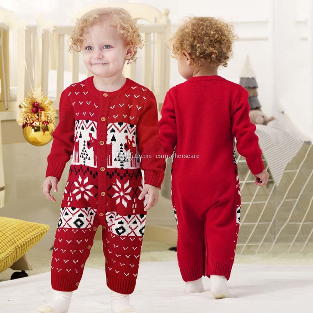 Christmas Knitted Baby Bodysuit Newborn Infant Toddler Hot Winter Body Child Kids for Boys Girls B0013 Body Suit Long Sleeve 2 Colors