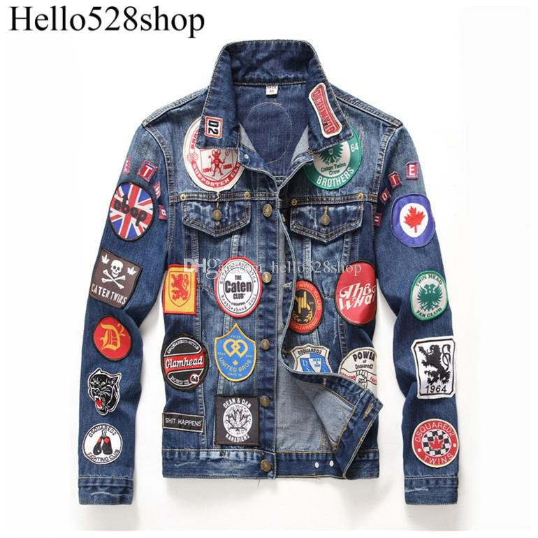 Hello528shop Men's Ripped Slim Denim Jacket Long Sleeves Embroidery Patches Outerwear for Boys Motorcycle Style