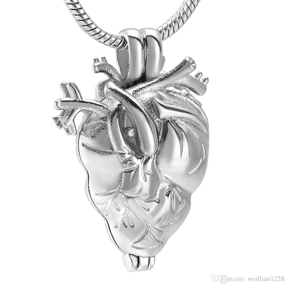 Urne de coeur anatomique AirAh18, bijoux de crémation dans un collier pendentif pour colliers avec cendres, médaillon souvenir souvenir