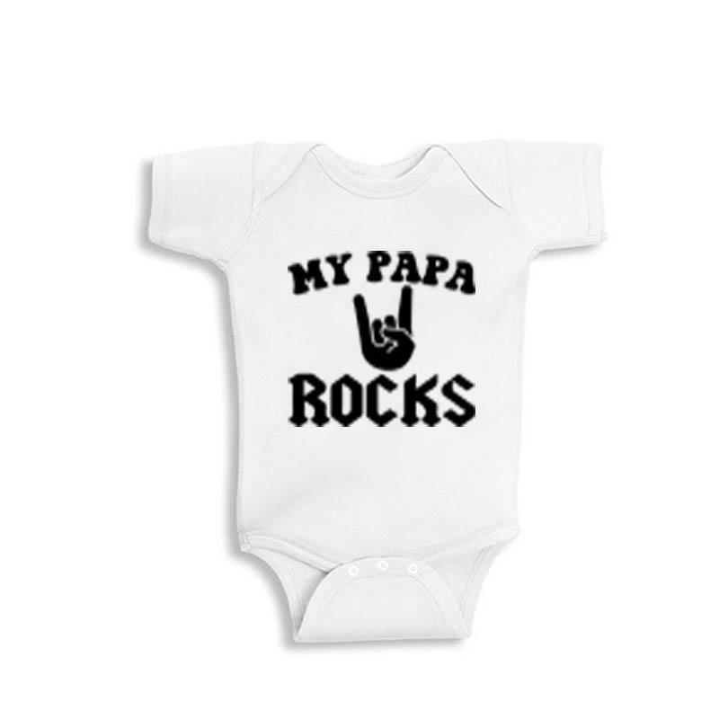 YSCULBUTOL 2018 new summer my papa rocks white short sleeve unisex baby bodysuit