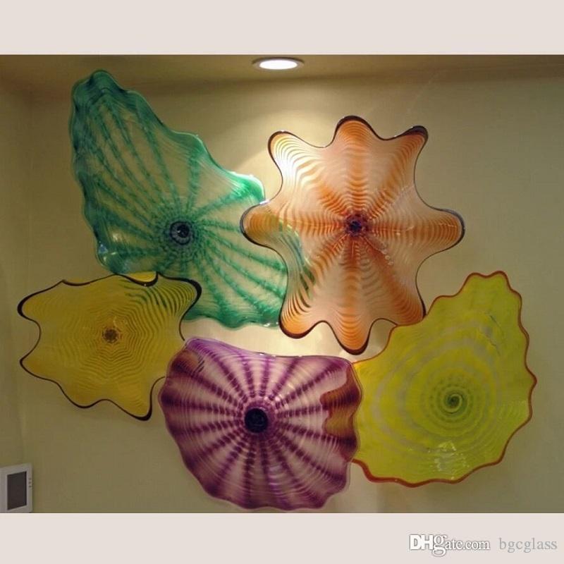 ديكور المنزل لوحات الزجاج المنفوخ اليد في مهب شنقا لوحات الفن الإبداعي الجدار الزجاجي مهب واضحة LED زجاج مصابيح الحائط