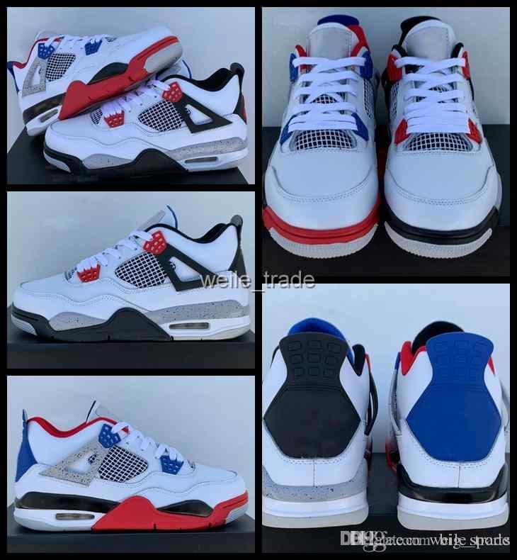 Com caixa de 2019 nova moda 4s o que os 4 mens sapatos de basquete preto azul branco sports sneaker trainer air jumpman homens fora chaussures