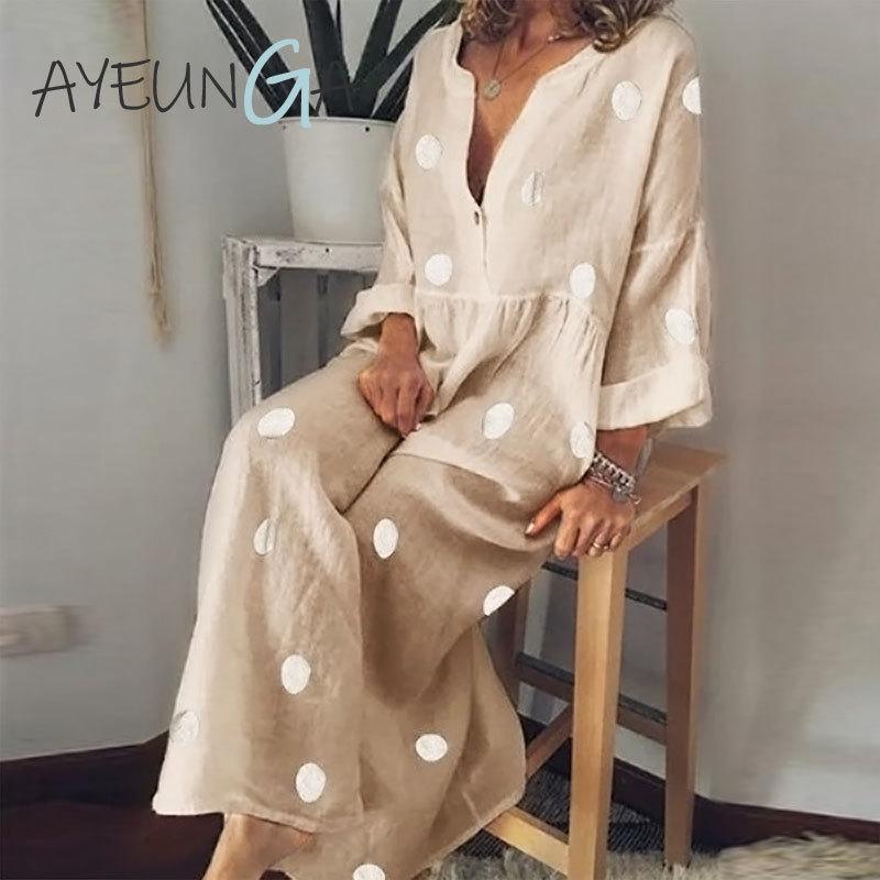 Casual Pois Maxi abito con scollo a V a maniche lunghe Boho Beach Dress Plus Size Women Fashion Button elegante giù il vestito allentato Ufficio