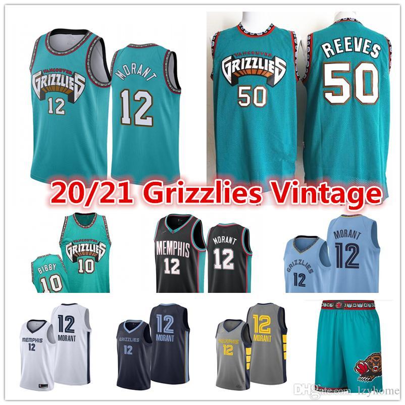 2021 Ja 12 Morant Vintage Hommes MemphisGrizzliesVancouverJersey 10 Mike Bibby Abdur-Rahim 50 Reeves Shorts Maillots de basket-ball