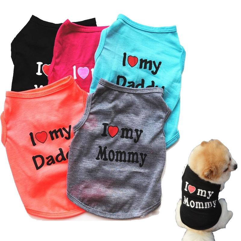 قميص أزياء الحيوانات الأليفة جرو كلب صغير الصيف القطة الأليفة الملابس أمي أبي الصدرية التي شيرت 5 ألوان XD23472
